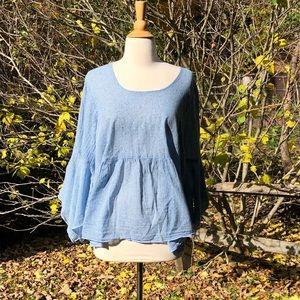 C.M.C. Color Me Cotton L Gauzy Blue Blouse